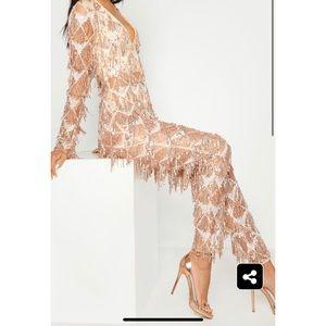 Rose Gold Tassel Sequin Jumpsuit (Worn Once)